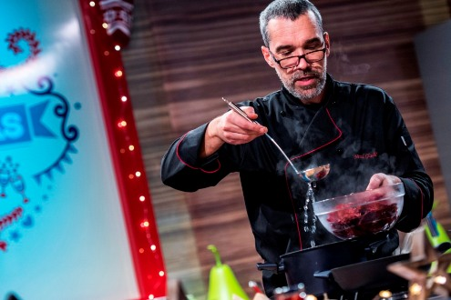 Chef Nenad Gladic cooking for Best Christmas Dinner, TV Show in Bucharest, Romanaia