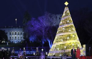 President Donald Trump, first lady Melania Trump, and their son Barron Trump attend the lighting ceremony for the 2017 National Christmas Tree on the Ellipse near the White House, Thursday, Nov. 30, 2017, in Washington. (AP Photo/Andrew Harnik)