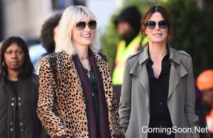 NEW YORK, NY - OCTOBER 24:  Actress Sandra Bullock (R) and Cate Blanchett are seen on the set of 'Ocean's Eight' on October 24, 2016 in New York City.  (Photo by Raymond Hall/GC Images)