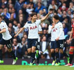 LONDON, ENGLAND - APRIL 15: Heung-Min Son of Tottenham Hotspur celebrates scoring his sides second goal during the Premier League match between Tottenham Hotspur and AFC Bournemouth at White Hart Lane on April 15, 2017 in London, England.  (Photo by Dan Istitene/Getty Images)