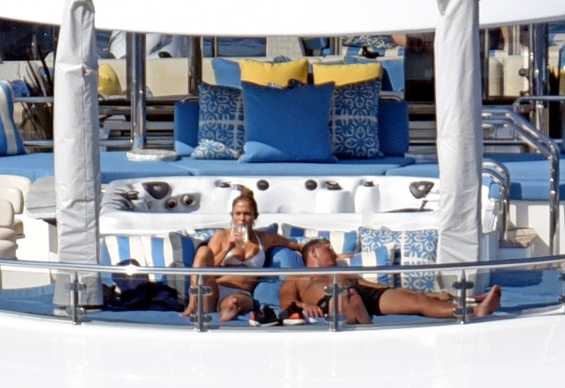 Jennifer Lopez and Alex Rodriguez on their luxury yacht in Capri